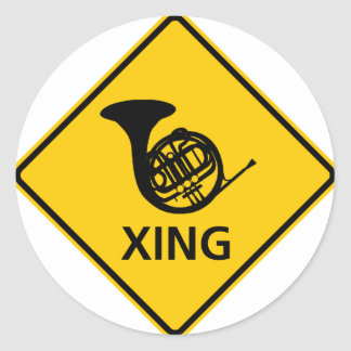 French Horn Crossing Highway Sign Classic Round Sticker