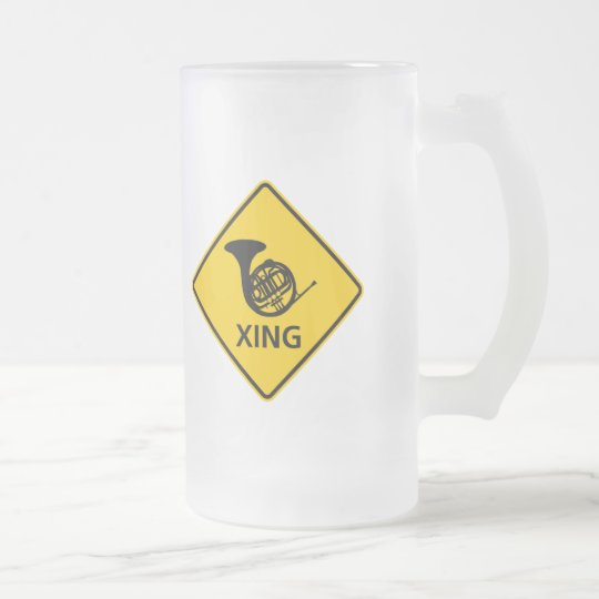 French Horn Crossing Highway Sign Frosted Glass Beer Mug