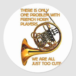 French Horn Cutie Classic Round Sticker