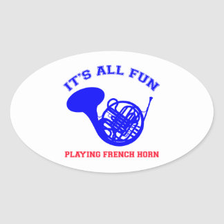 French Horn designs Oval Sticker