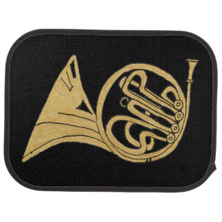 French Horn Drawing on a Black Background Car Mat