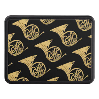 French Horn Drawing on Black Background Tow Hitch Cover