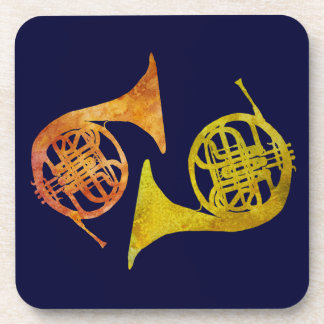 French Horn Duet Beverage Coaster