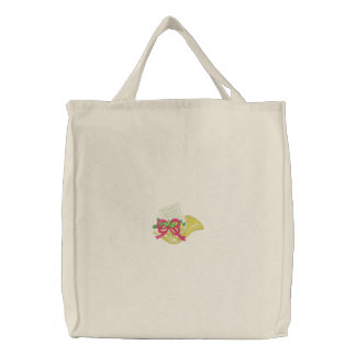 French Horn Embroidered Tote Bag
