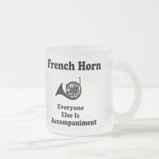 French Horn Gift 10 Oz Frosted Glass Coffee Mug