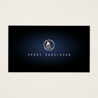 French Horn Icon Blue Glow Music Business Card