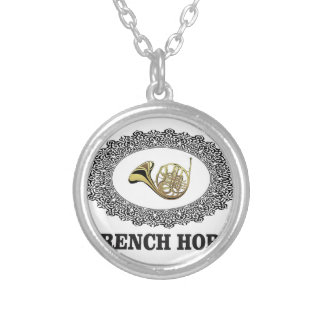 french horn in ring silver plated necklace