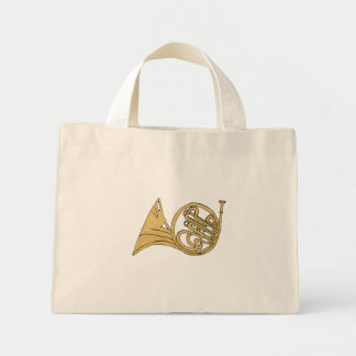 French Horn Instrument Drawing Mini Tote Bag