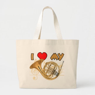 French Horn Love Large Tote Bag