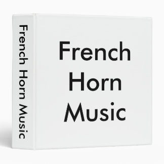 French Horn Music Black Lettering on White Binder