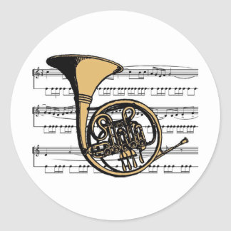 French Horn musical 06 B Classic Round Sticker