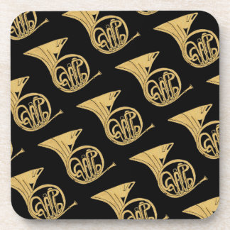 French Horn Musical Instrument Drawing Beverage Coaster
