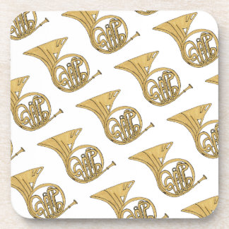 French Horn Musical Instrument Drawing Coaster