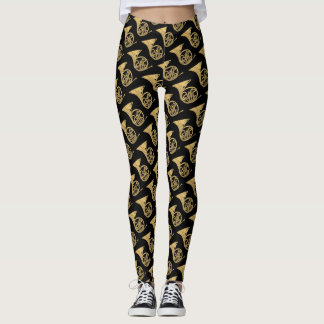 French Horn Musical Instrument Drawing on Black Leggings