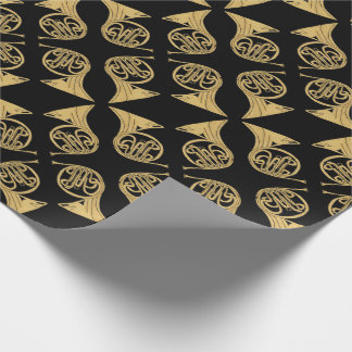 French Horn Musical Instrument Drawing on Black v2 Wrapping Paper