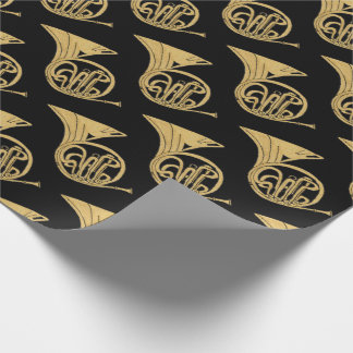 French Horn Musical Instrument Drawing on Black Wrapping Paper