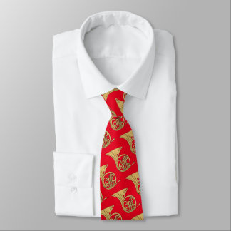 French Horn Musical Instrument Drawing on Red Neck Tie