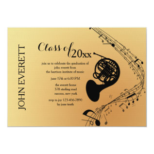 French Horn Musical Instrument Invitation at Zazzle
