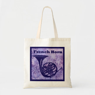 French Horn on Purple Tote Bag