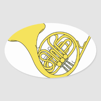 French Horn Oval Sticker