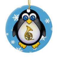 French Horn Penguin Blue Christmas Gift Ornament