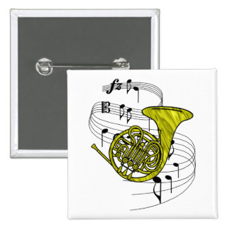 French Horn Pinback Button