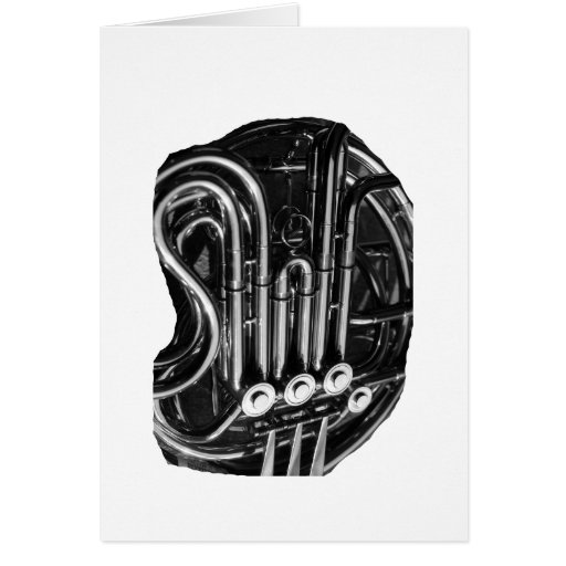 French Horn Piping Black and White photo design Stationery Note Card