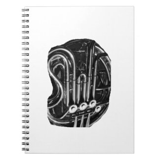French Horn Piping Black and White photo design Spiral Notebook