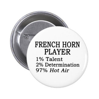 French Horn Player Hot Air Pinback Button