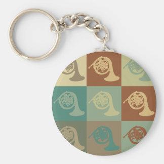 French Horn Pop Art Basic Round Button Keychain