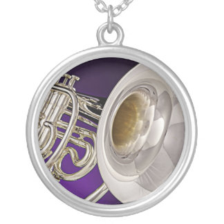 French Horn Purple Background Necklace