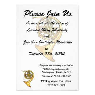 french horn real style png personalized invites