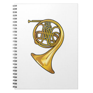 french horn real style.png spiral notebook