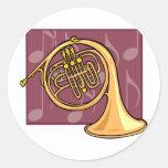 French Horn Round Sticker