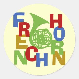 French Horn Scramble Classic Round Sticker