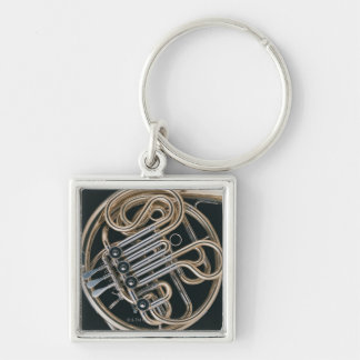 French Horn Silver-Colored Square Keychain