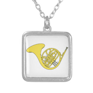 French Horn Square Pendant Necklace