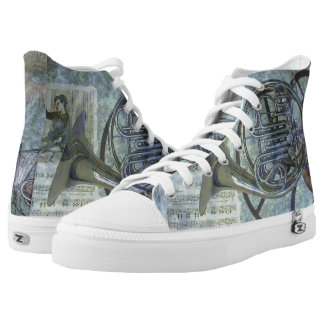 French Horn Steampunk Fantasy High-Top Sneakers