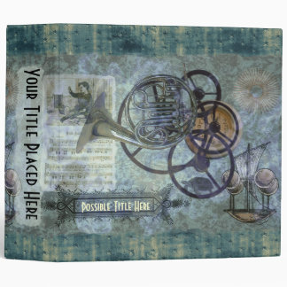 French Horn Steampunk Medley 3 Ring Binders