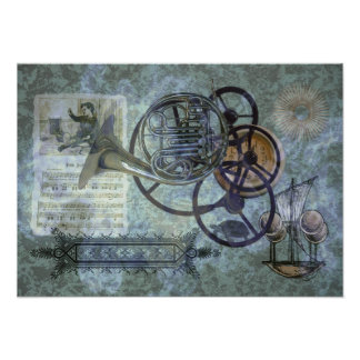 French Horn Steampunk Medley Print