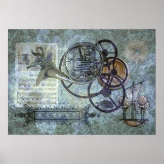 French Horn Steampunk Medley Print