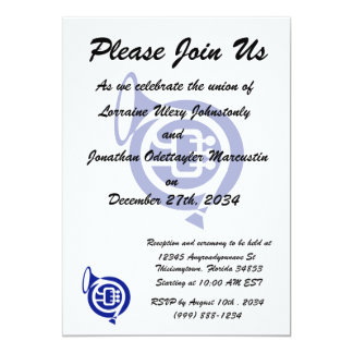 french horn stylized simple blue.png card
