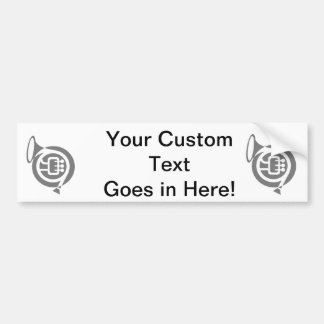 french horn stylized simple grey.png bumper sticker