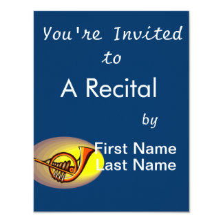 French horn type design yellow and orange card