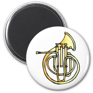 French horn type instrument front facing bell 2 inch round magnet