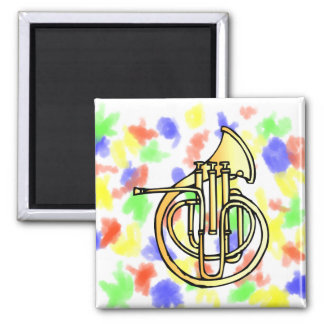 French horn type instrument front facing bell 2 inch square magnet