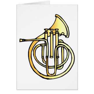 French horn type instrument front facing bell card