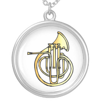 French horn type instrument front facing bell silver plated necklace