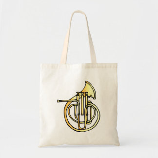 French horn type instrument front facing bell tote bag