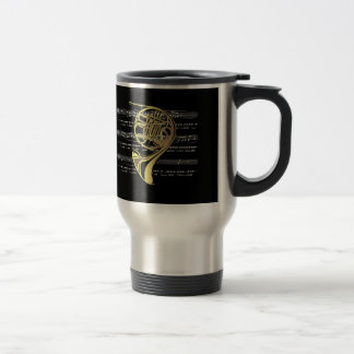 French Horn w/Sheet Music ~ Black Background Coffee Mug